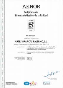AENOR_SISTEMA_GESTION_CALIDAD_ISO 9001 Español 2018_ARTES_GRAFICAS_PALERMO
